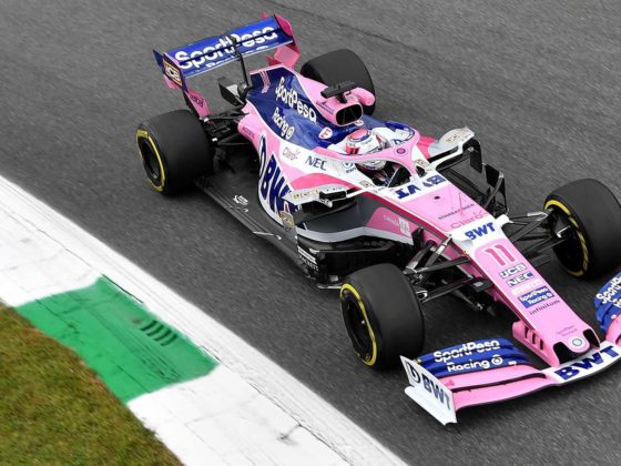 Monza (Italy), 06/09/2019.- Mexican Formula One driver Sergio Perez of Racing Point in action during the second practice session at the Monza Autodrome in Monza, Italy, 06 September 2019. The Formula One Grand Prix of Italy takes place on 08 September 2019. (Fórmula Uno, Italia, Roma) EFE/EPA/DANIEL DAL ZENNARO