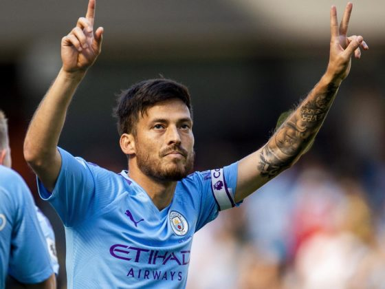 Manchester (United Kingdom), 21/09/2019.- Manchester City's David Silva celebrates after scoring the 1-0 lead during the English Premier League soccer match between Manchester City and Watford FC in Manchester, Britain, 21 September 2019. (Reino Unido) EFE/EPA/PETER POWELL