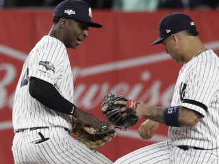 New York Yankees Didi Gregorius (L) and Gleyber Torres (R) celebrate after defeating the Minnesota Twins in their MLB American League Divsion Series playoff baseball game two at Yankee Stadium in the Bronx, New York, USA, 05 October 2019. EFE/EPA/PETER FOLEY