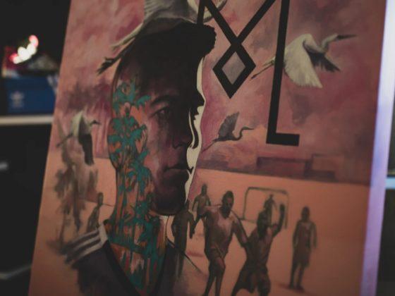 Una de las obras de Walter John Rodríguez, inspiradas en el Inter FC