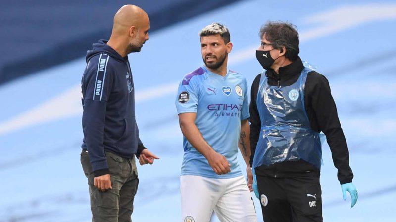 Foto: Pep Guardiola y Kun Aguero, del Manchester City / EFE
